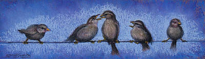 Pastel - Bird Babies On A Wire by Susan Jenkins