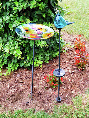 Impatients Painting - Bird Bath In The Garden 2 by Lanjee Chee