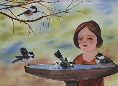 Painting - Bird Bath Time by Sharon Mick