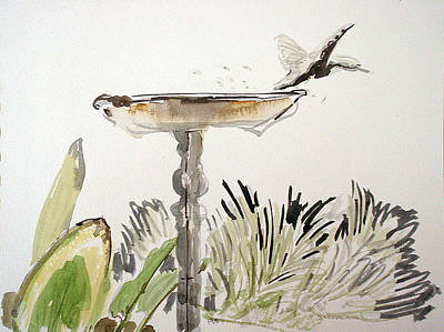 Painting - Bird Bath by Vaughan Davies