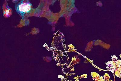 Digital Art - Bird Branch Flower Nature Spring  by PixBreak Art