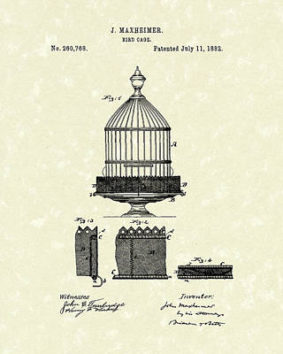 Cage Drawing - Bird Cage 1882 Patent Art by Prior Art Design