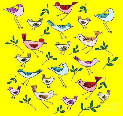 Animals Digital Art - Bird Cluster by Priscilla Wolfe