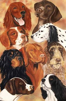 Setter Pointer Painting - Bird Dogs by Debbie LaFrance