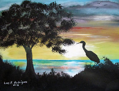 Painting - Bird During Sunset by Luis F Rodriguez