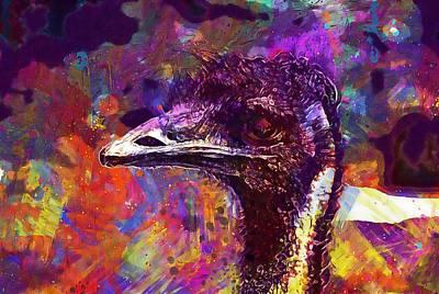 Emu Digital Art - Bird Emu An Head Birds Animals  by PixBreak Art