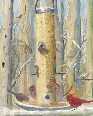 Wall Art - Painting - Bird-feeder by Katherine Farrell