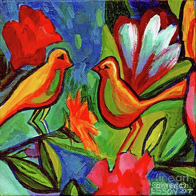 Bird Floral Diptych 1 Original