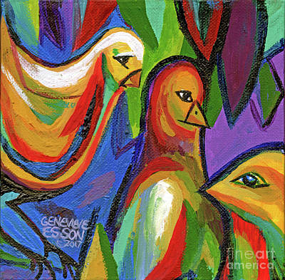 Painting - Bird Floral Diptych 2 by Genevieve Esson