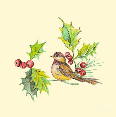 Painting - Bird Holly And Berries by Dale Jackson