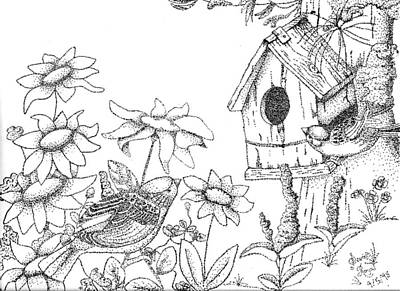 Pointalism Drawing - Bird House by Scarlett Royal