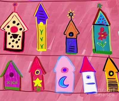 Drawing - Bird Houses Whimsey by Susan Garren