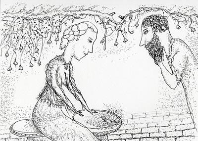 Drawing - Bird In A Bath by Jim Taylor