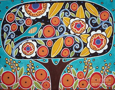 Folk Art Flowers Painting - Bird In Blooming Tree by Karla Gerard