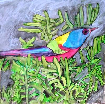Painting - Bird In Bushes by Victoria Hasenauer
