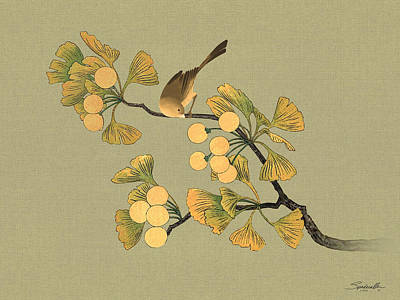 Digital Art - Bird In Ginkgo Tree by IM Spadecaller