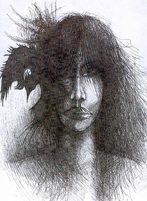 Creativity Drawing - Bird In Hair  by Wojtek Kowalski