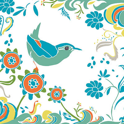 Warbler Mixed Media - Bird In The Garden by Kendra Shedenhelm