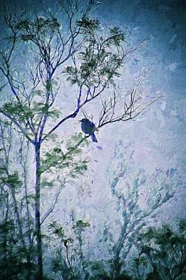 Mockingbird Digital Art - Bird In Tree Silhouette IIi Abstract 2 by Linda Brody