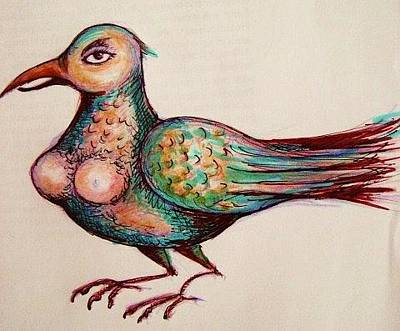 Drawing - Bird-lady by Rae Chichilnitsky