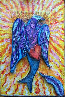 Mixed Media - Bird, Mermaid, Winged Heart, Feather by Joanna Whitney