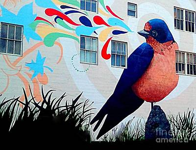 Photograph - San Francisco Blue Bird Painting Mural In California by Michael Hoard