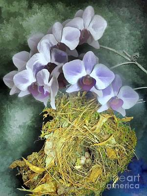 Photograph - Bird Nest And Watercolor Orchids by Renee Trenholm