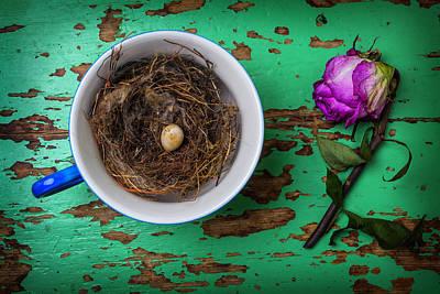 Bird Nest Photograph - Bird Nest And Weathered Rose by Garry Gay