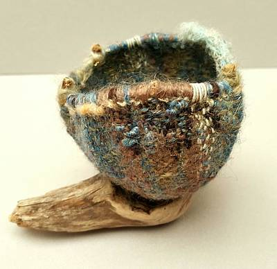 Tapestry - Textile - Bird Nest Basket 1 by Brenda Berdnik