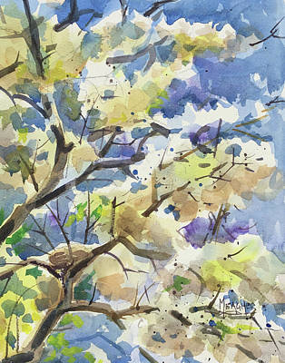 Bird Nest In The Catalpa Blooms Art Print by Spencer Meagher