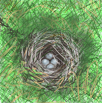 Painting - Bird Nest by Jean Pacheco Ravinski