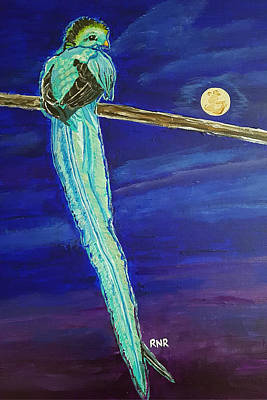 Painting - Bird Of Beauty, Moon Blue by Rachel Natalie Rawlins