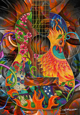 Cherry Blossom Drawing - Bird Of Fire Guitar by Julie Oakes