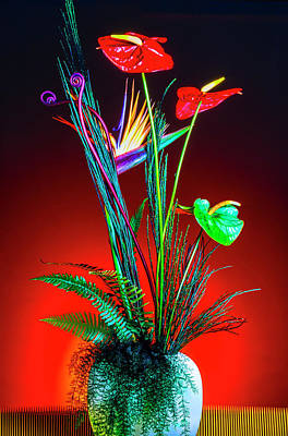 Anthurium Photograph - Bird Of Paradise And Anthuriums In Vase by Garry Gay