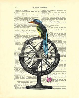 Colorful Bird Of Paradise Sitting On Globe Art Print by Madame Memento