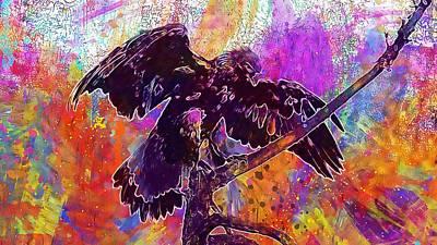 Digital Art - Bird Of Prey Stuffed Museum Exhibit  by PixBreak Art