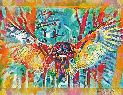 Mixed Media - Bird Of Prey The Great Horned Owl by David MCKINNEY