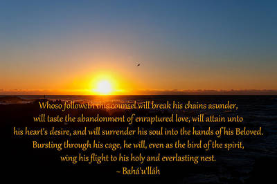 Photograph - Bird Of The Spirit by Baha'i Writings As Art