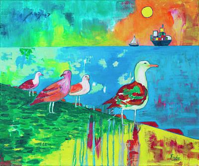 Fischer Boat Painting - Bird Of Valparaiso Port by Rafael Fischer