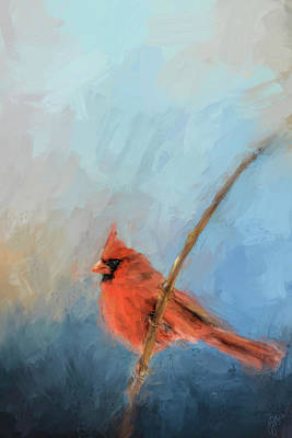 Painting - Bird On A Branch Cardinal Art by Jai Johnson