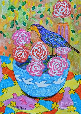 Still Life Drawings - Bird on a Rose by Caroline Street