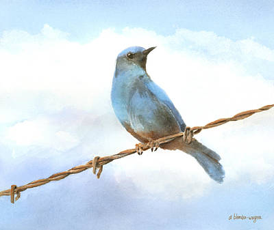 Watercolor Painting - Bird On A Wire by Arline Wagner