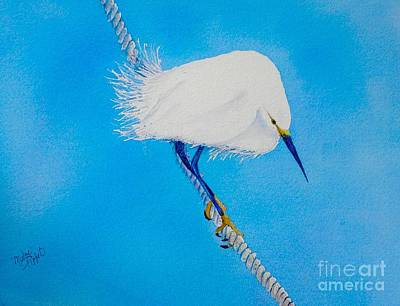 Wall Art - Painting - Bird On A Wire by Midge Pippel