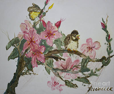 Art Print featuring the painting Bird On Blossoms by Avonelle Kelsey