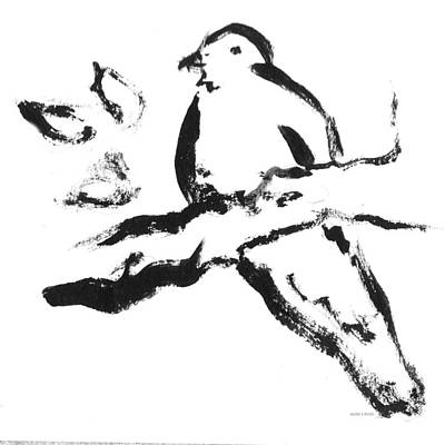 Drawing - Bird On Branch Bw by Valerie Reeves