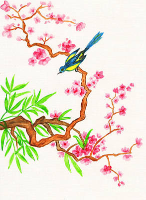 Painting - Bird On Branch With Pink Flowers, Painting by Irina Afonskaya