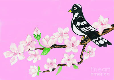 Painting - Bird On Branch With White Flowers On Pink Background by Irina Afonskaya