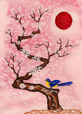 Painting - Bird On Branch With White Flowers, Painting by Irina Afonskaya