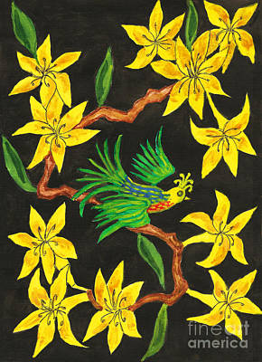 Painting - Bird On Branch With Yellow Flowers, Painting by Irina Afonskaya