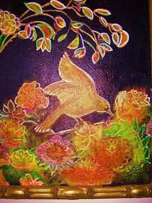 Bird On Flowers On A  Glorious Night Print by Anne-Elizabeth Whiteway